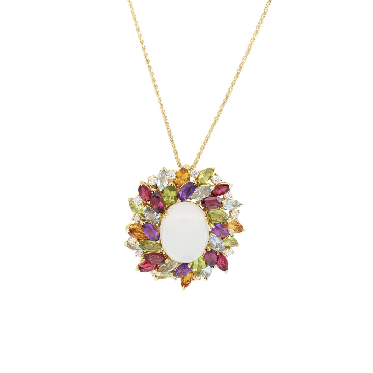 Multi-Gem Moonlight Pendant Necklace