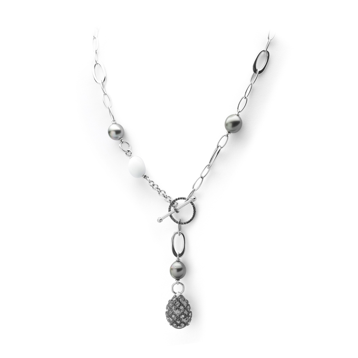 Fantasy Diamonds Pearl Kogolong Stone Necklace