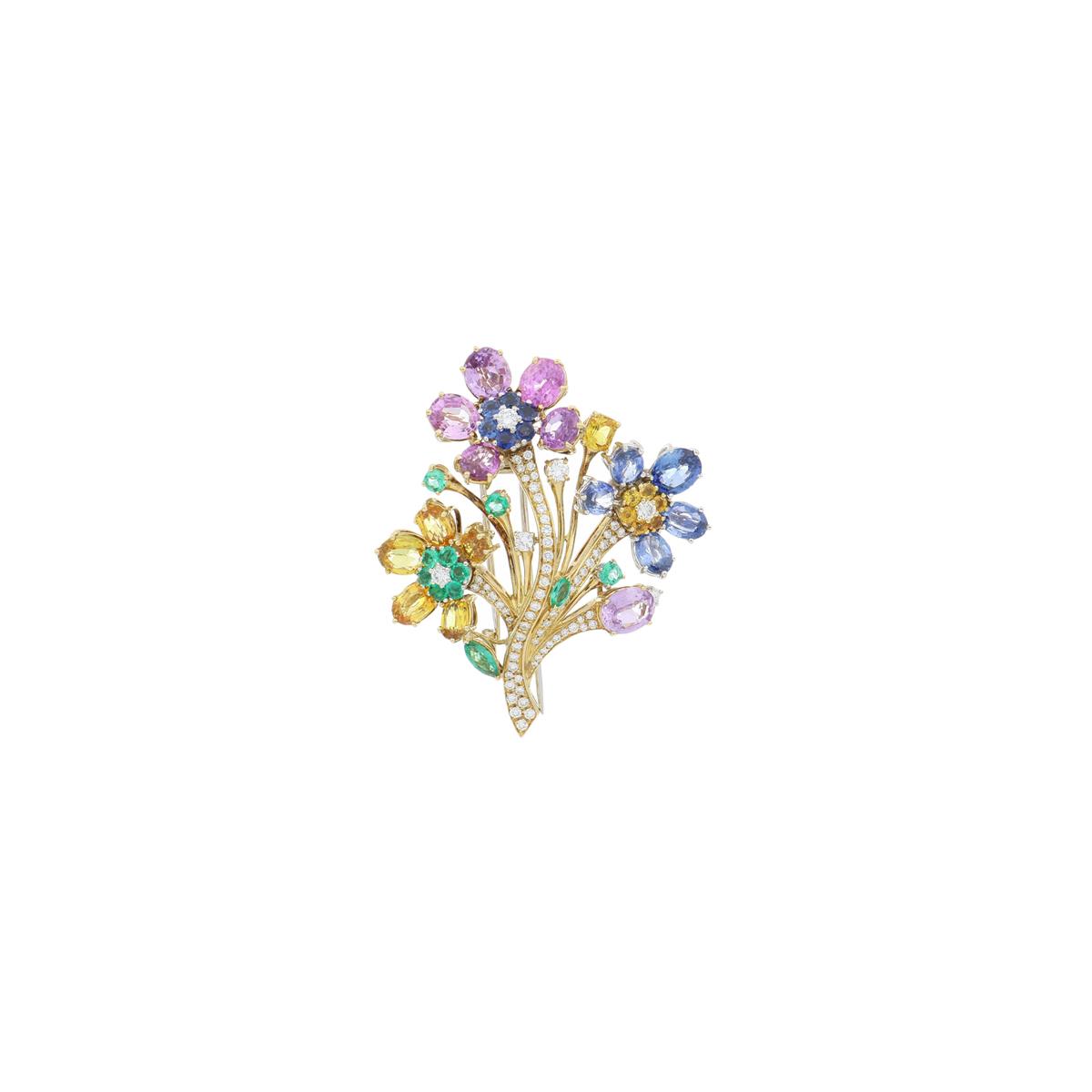Multi-Gem Flower Brooch with Diamonds
