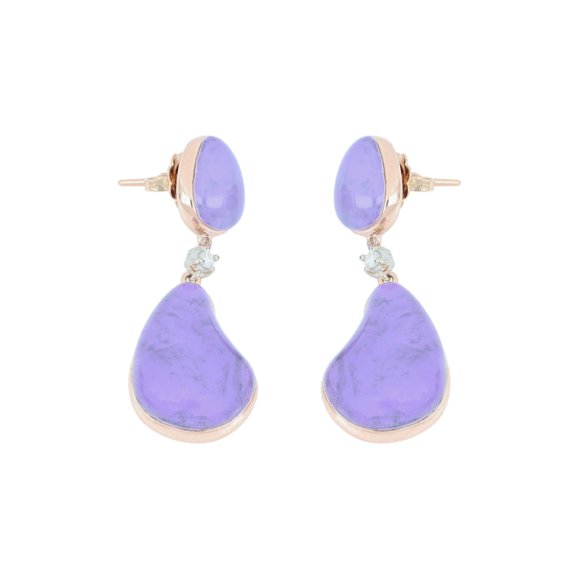 Cabochon Cut Quartz And Sugilite Stone Earrings