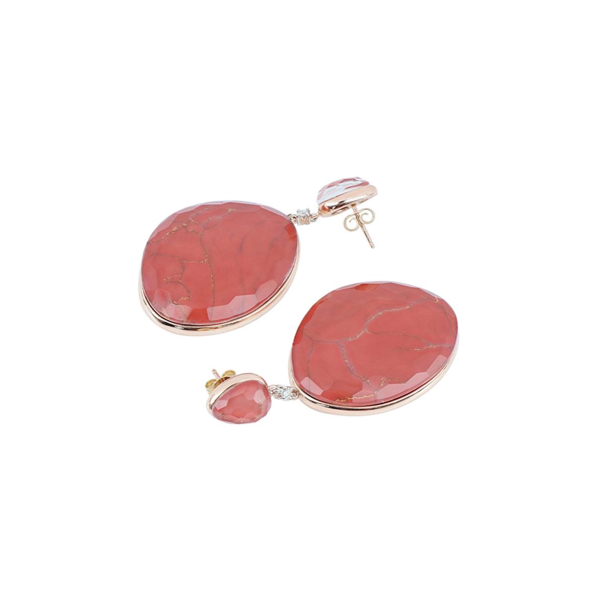 Multiple Facet Cut Quartz And Carnelian Stone Earrings