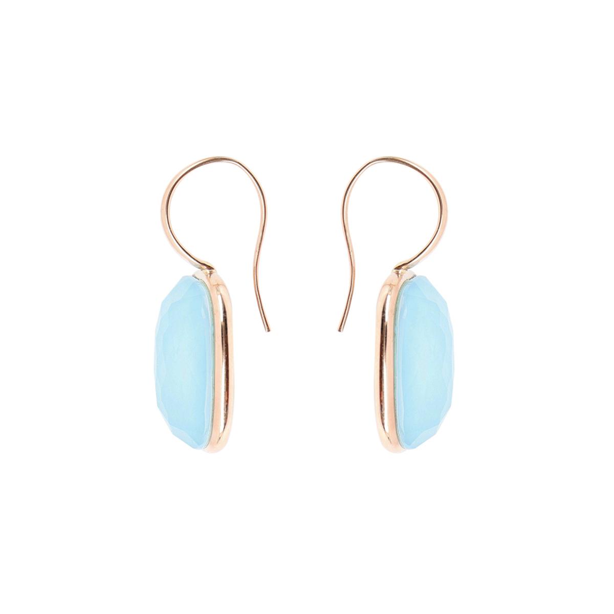 Multiple Facet Cut Quartz And Turquoise Earrings