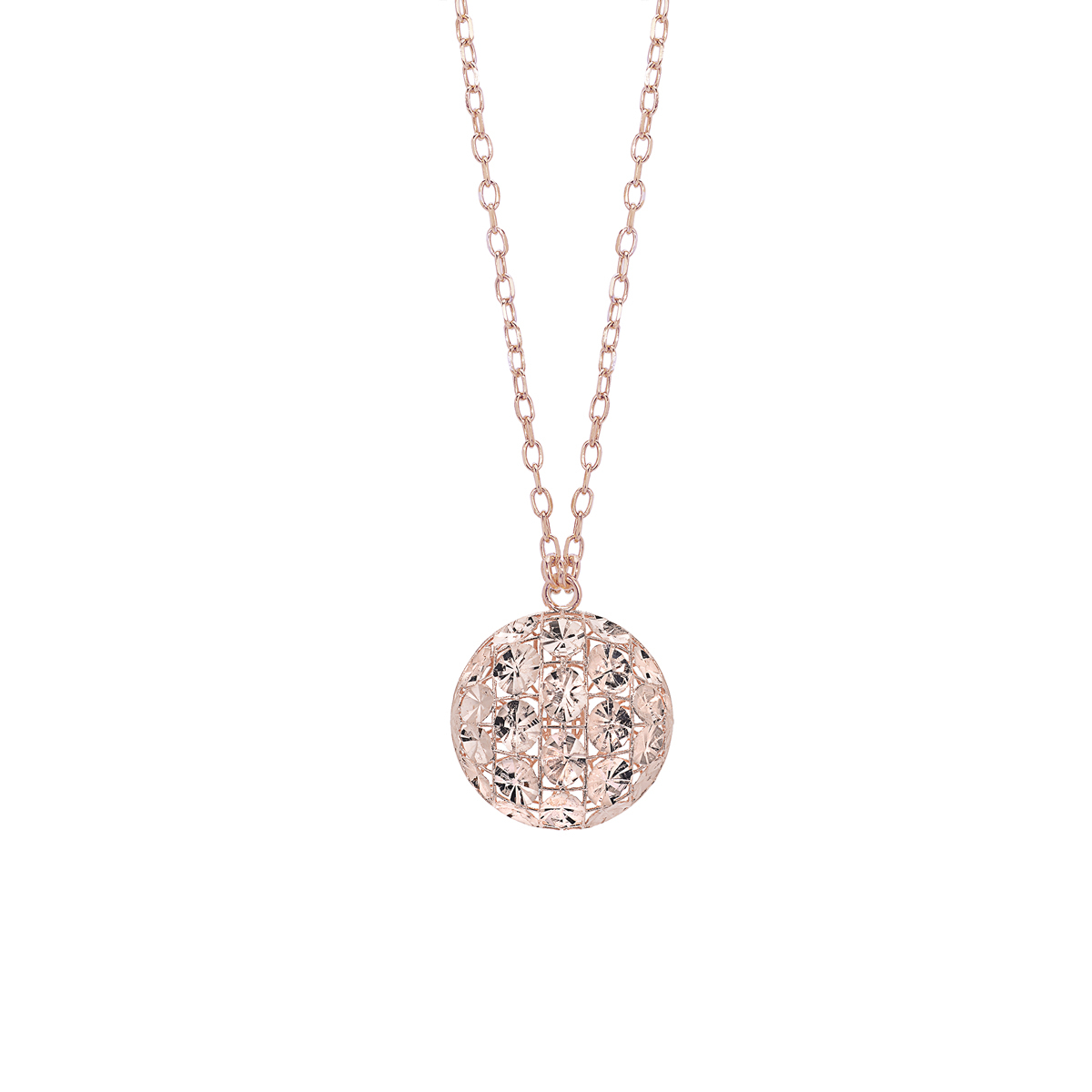 Diamond Effect Rhodium-Plated Silver Necklace