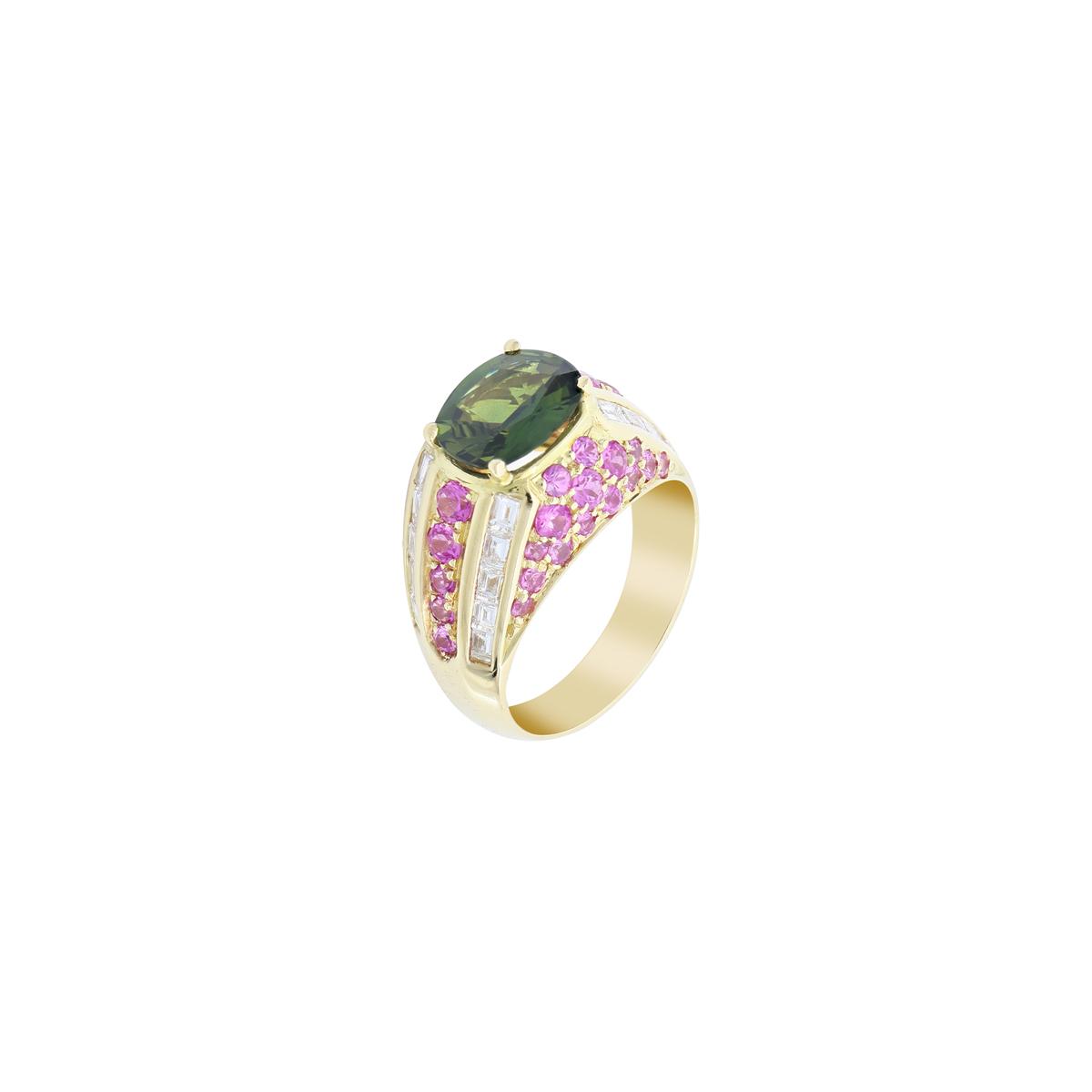 Cushion-Cut Sapphire Ring with Diamonds