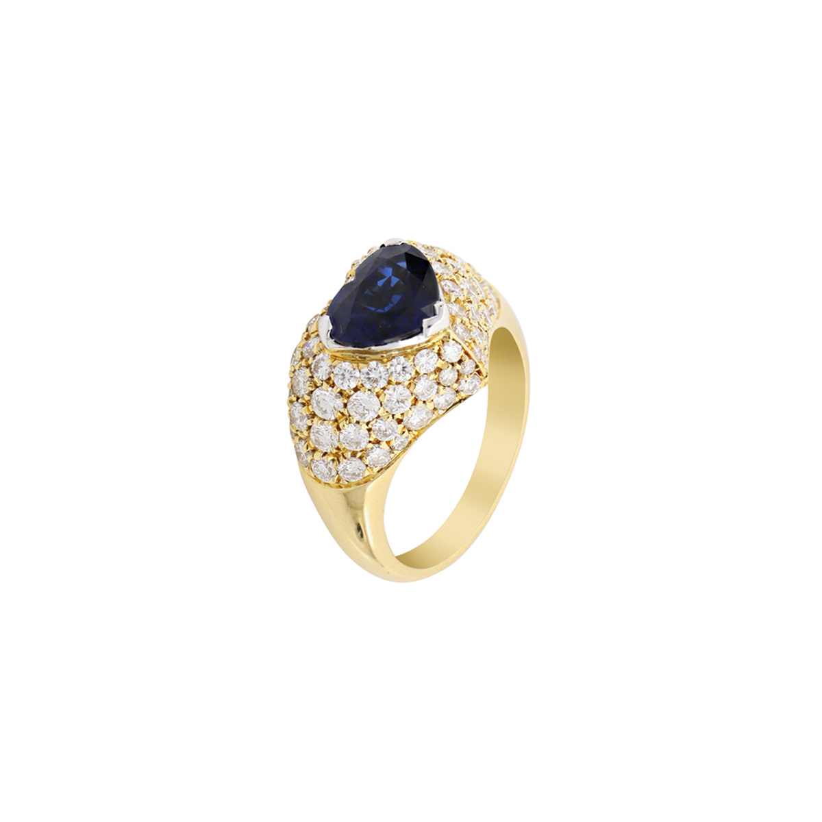 Heart-Cut Sapphire Ring with Diamonds