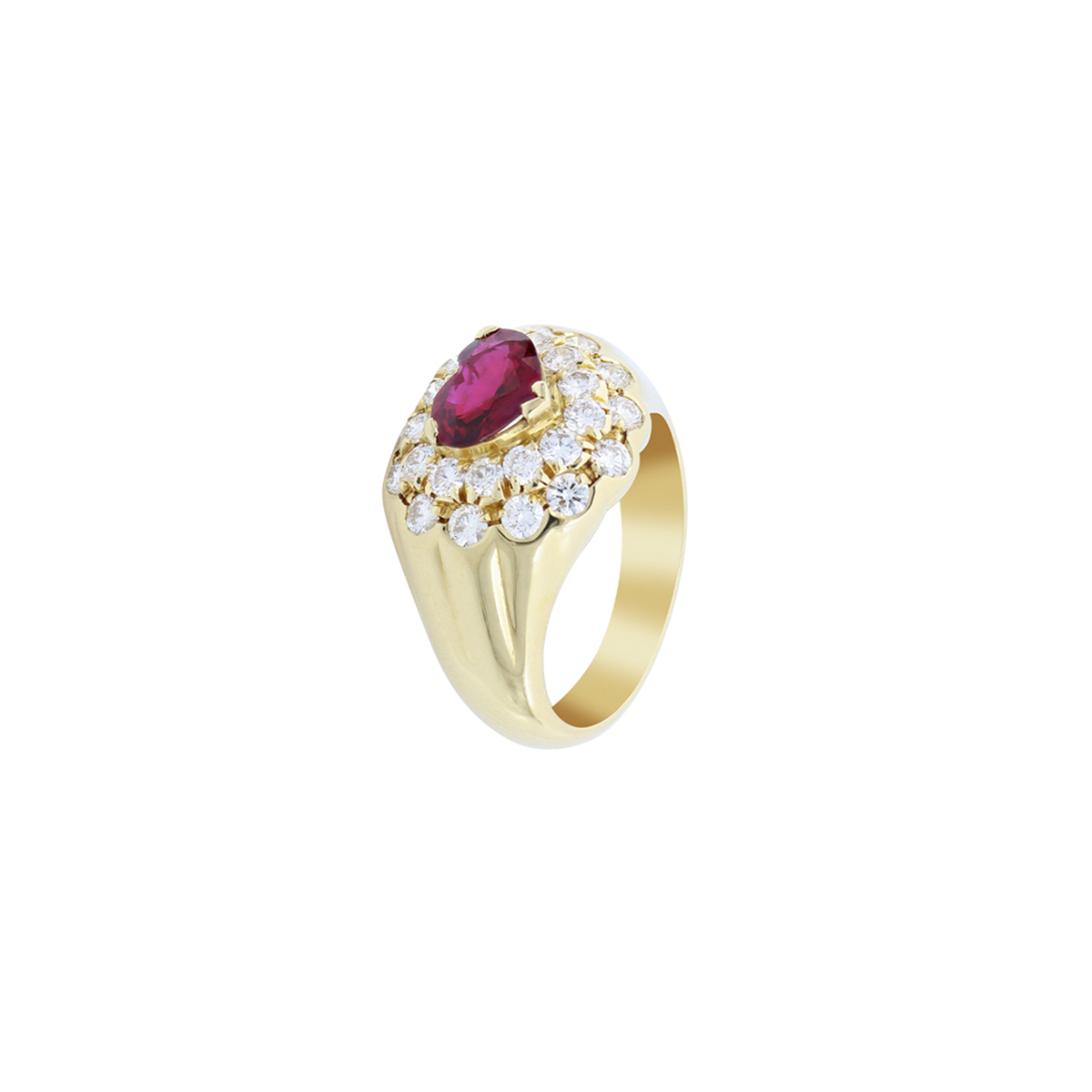 Yellow Gold Ruby Heart Ring with Diamonds