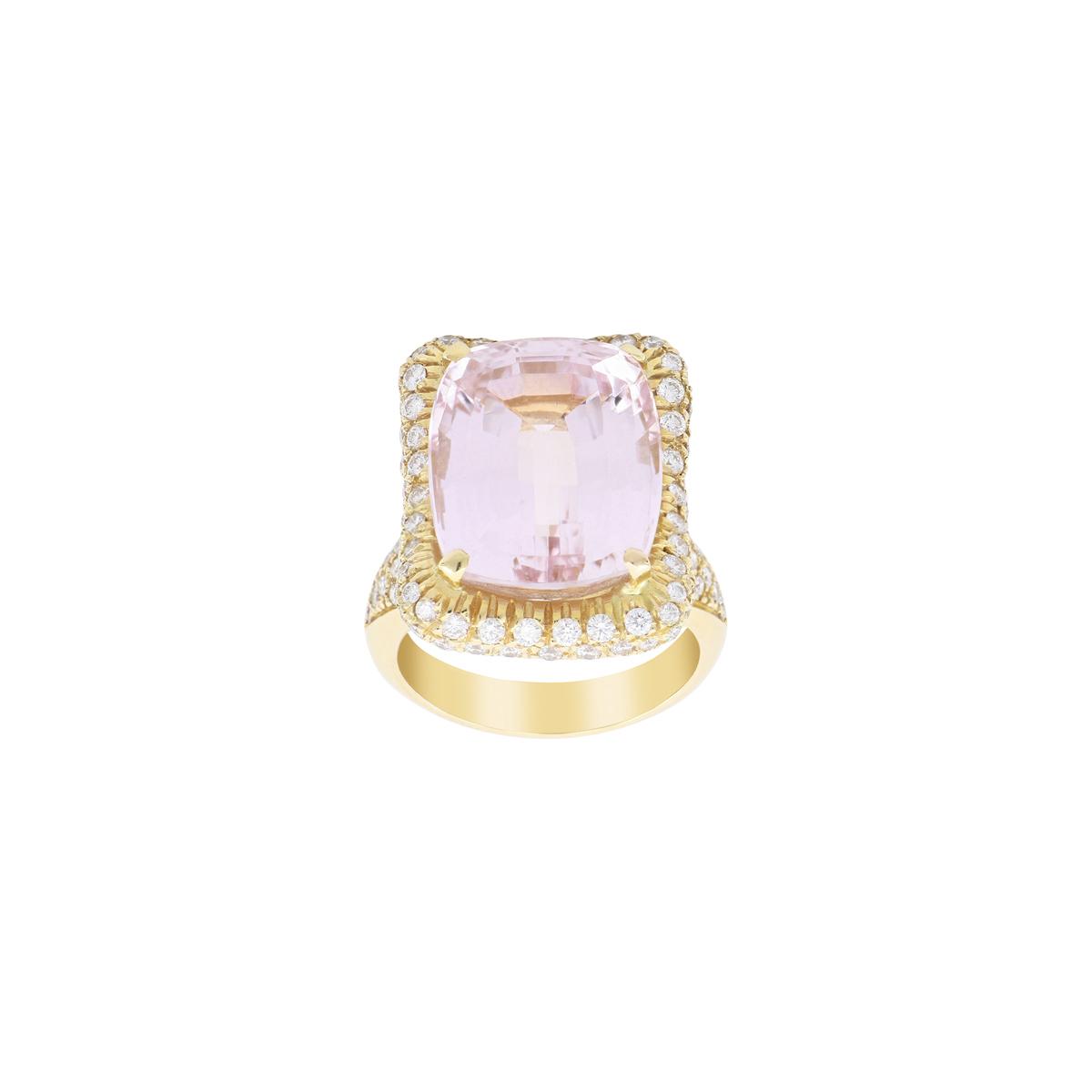 Kunzite Ring with Double Diamond Halo