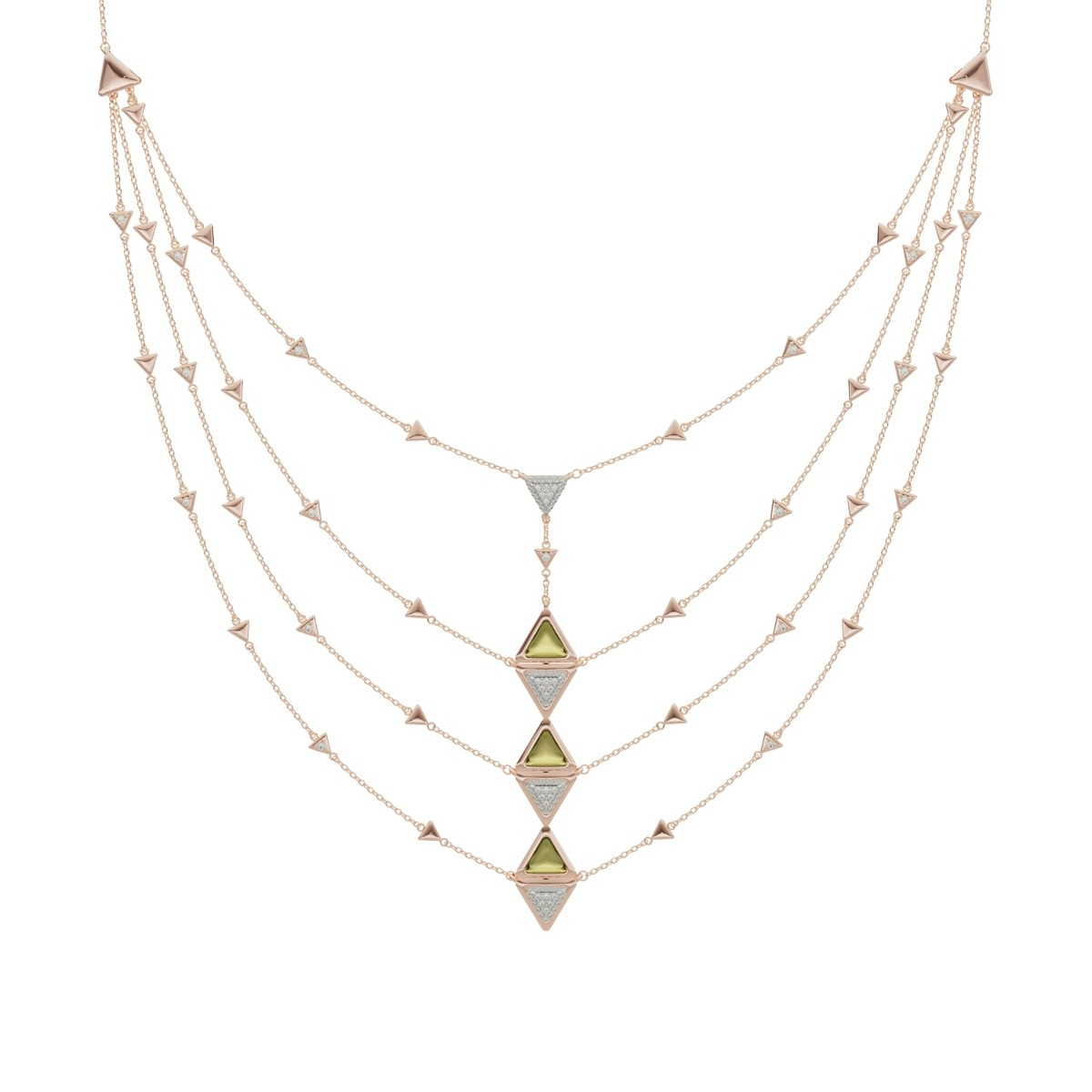 Diamond and Tourmaline Triangle Necklace - Mirror Collection