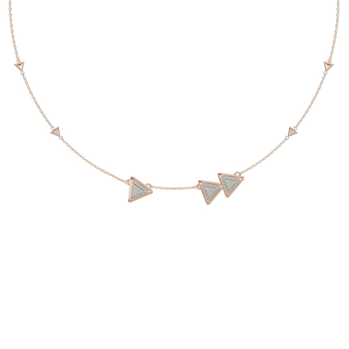 Necklace Anniversary Dove Vai Forward Rose Gold Full Diamonds Pavé