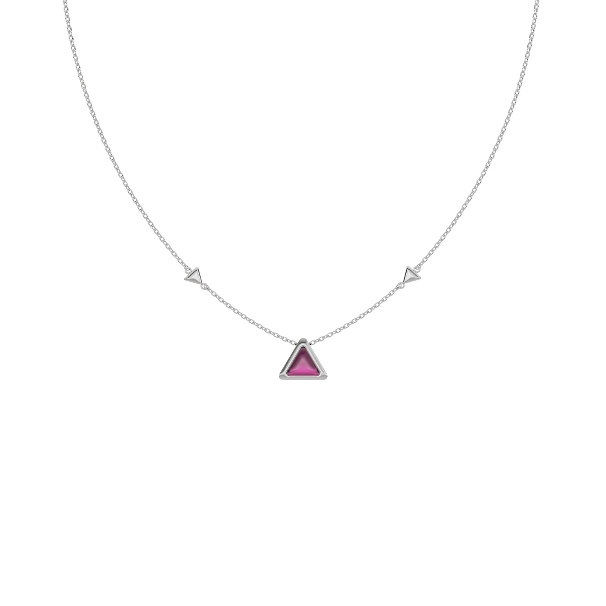 Necklace Be The One Gem White Gold Pink Garnet