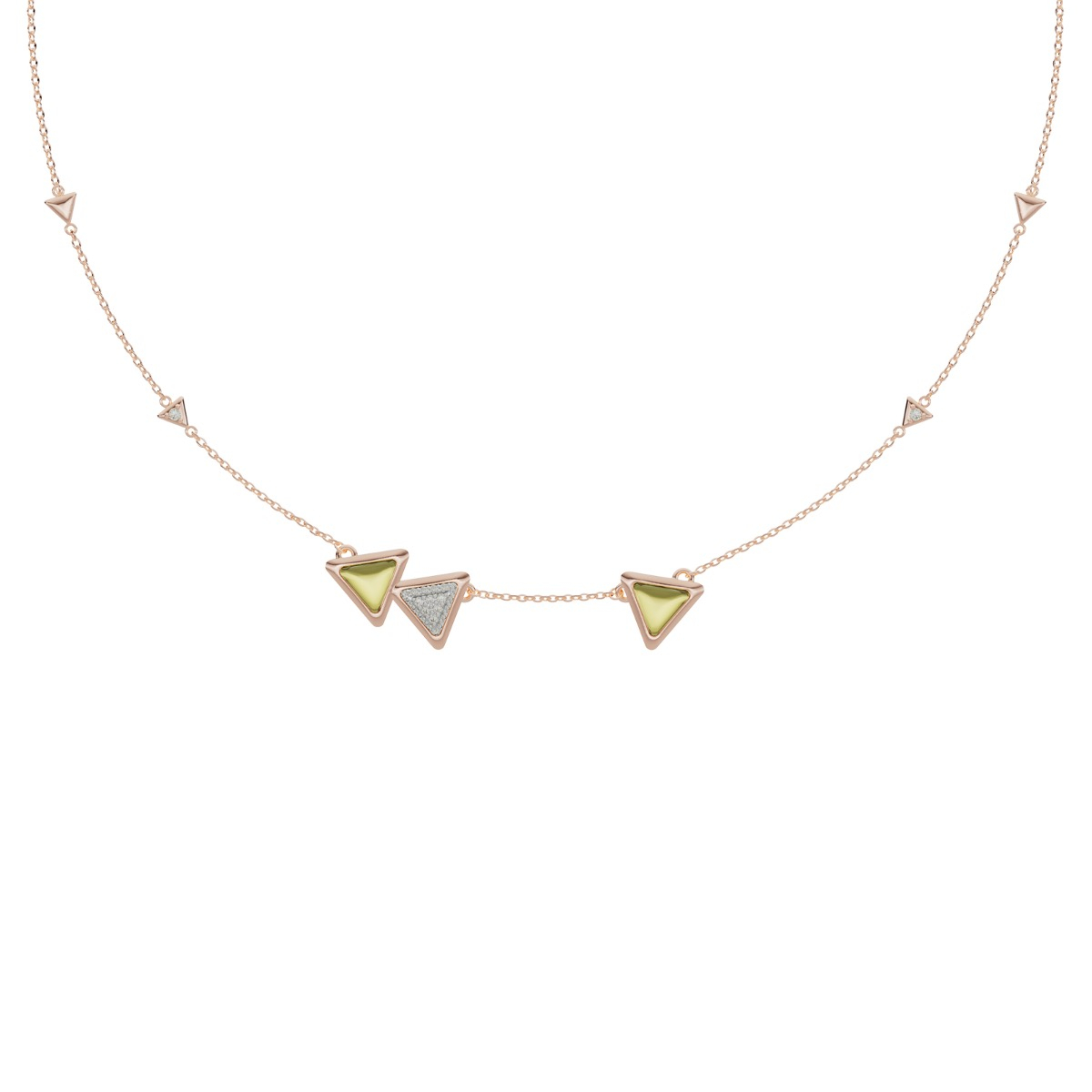Necklace Dove Vai Forward Exquisite Rose Gold  Green Tourmaline and Diamonds