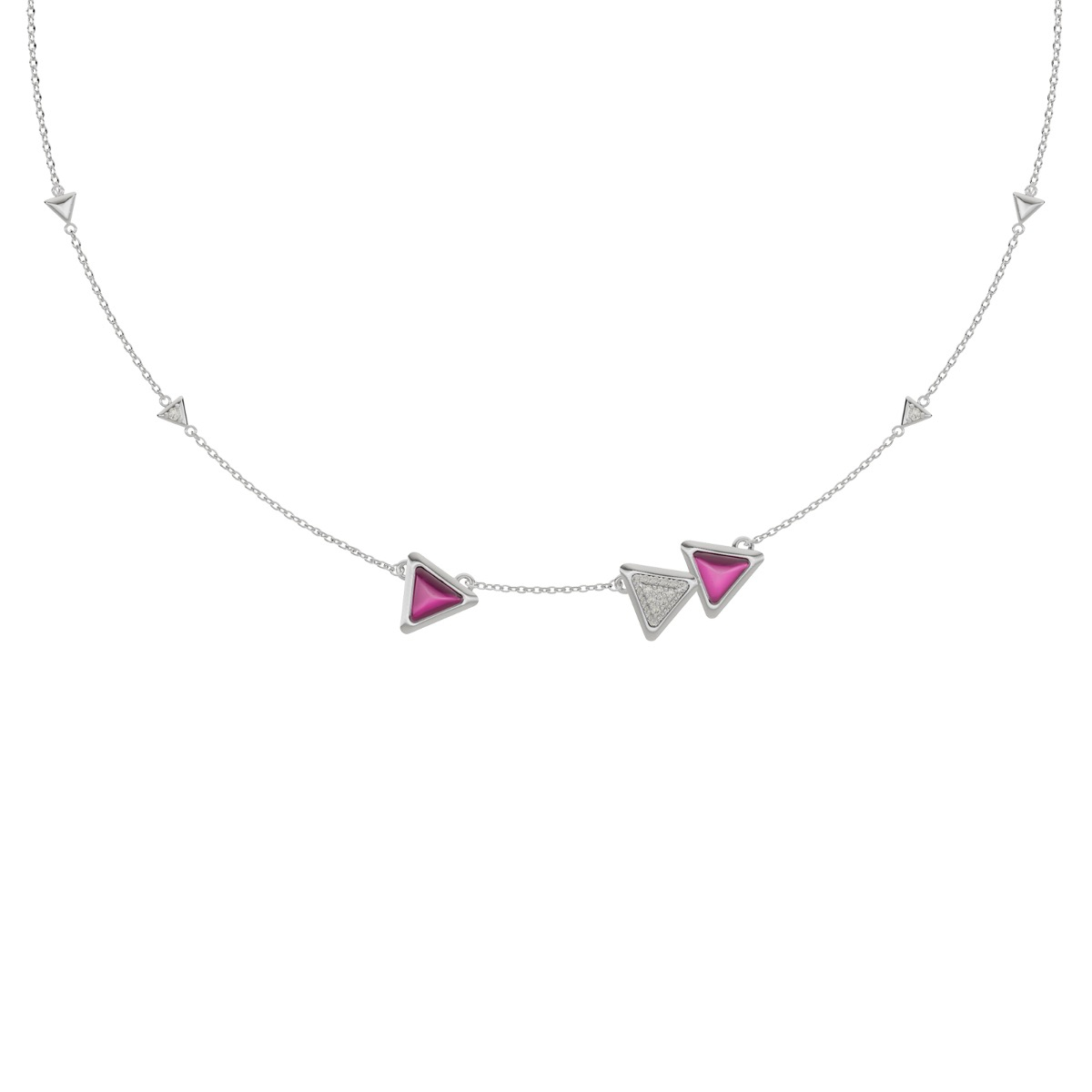 Necklace Dove Vai Forward Exquisite White Gold Pink Garnet and Diamonds