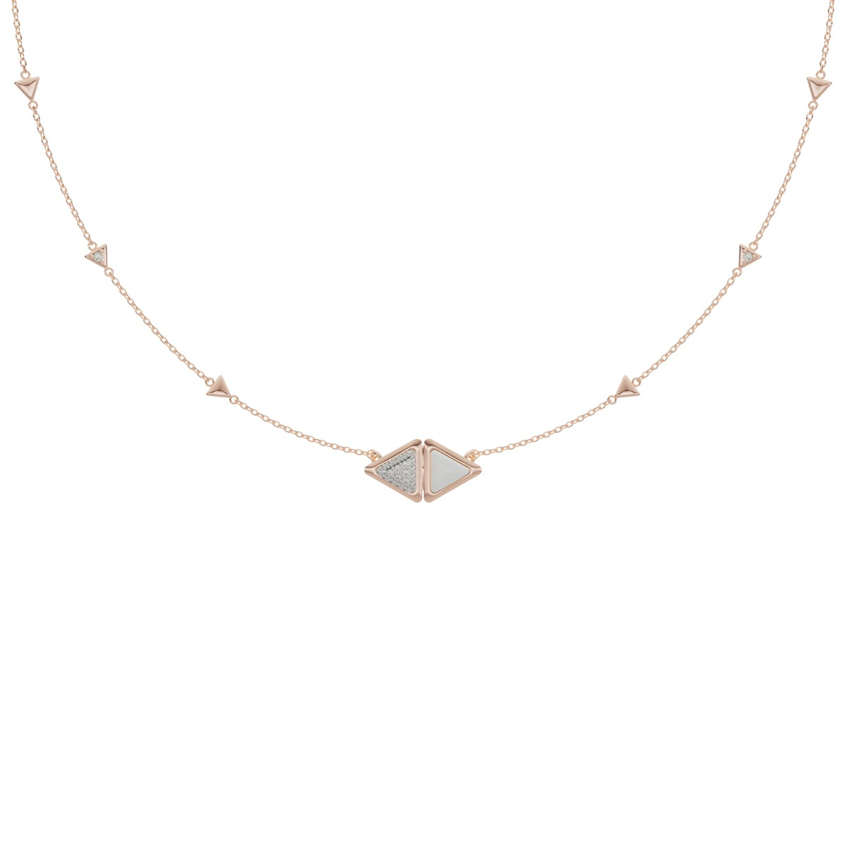 Necklace Mirror Exquisite Rose Gold Kogolong and Diamonds