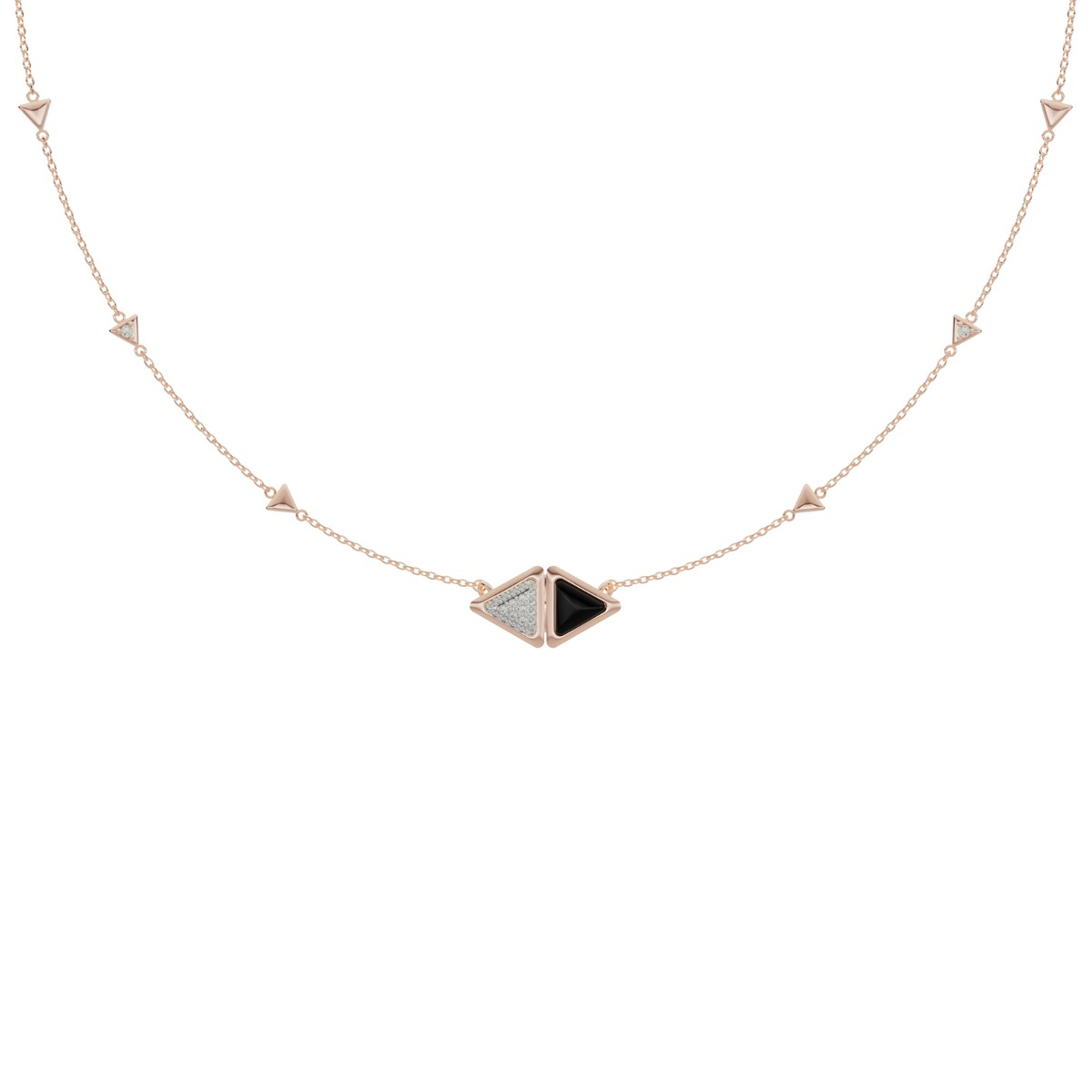 Necklace Mirror Exquisite Rose Gold Onix and Diamonds