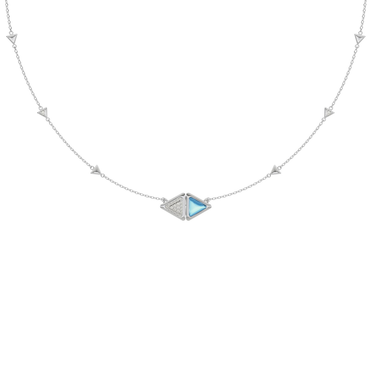 Necklace Mirror Exquisite White Gold Blue Topaz and Diamonds