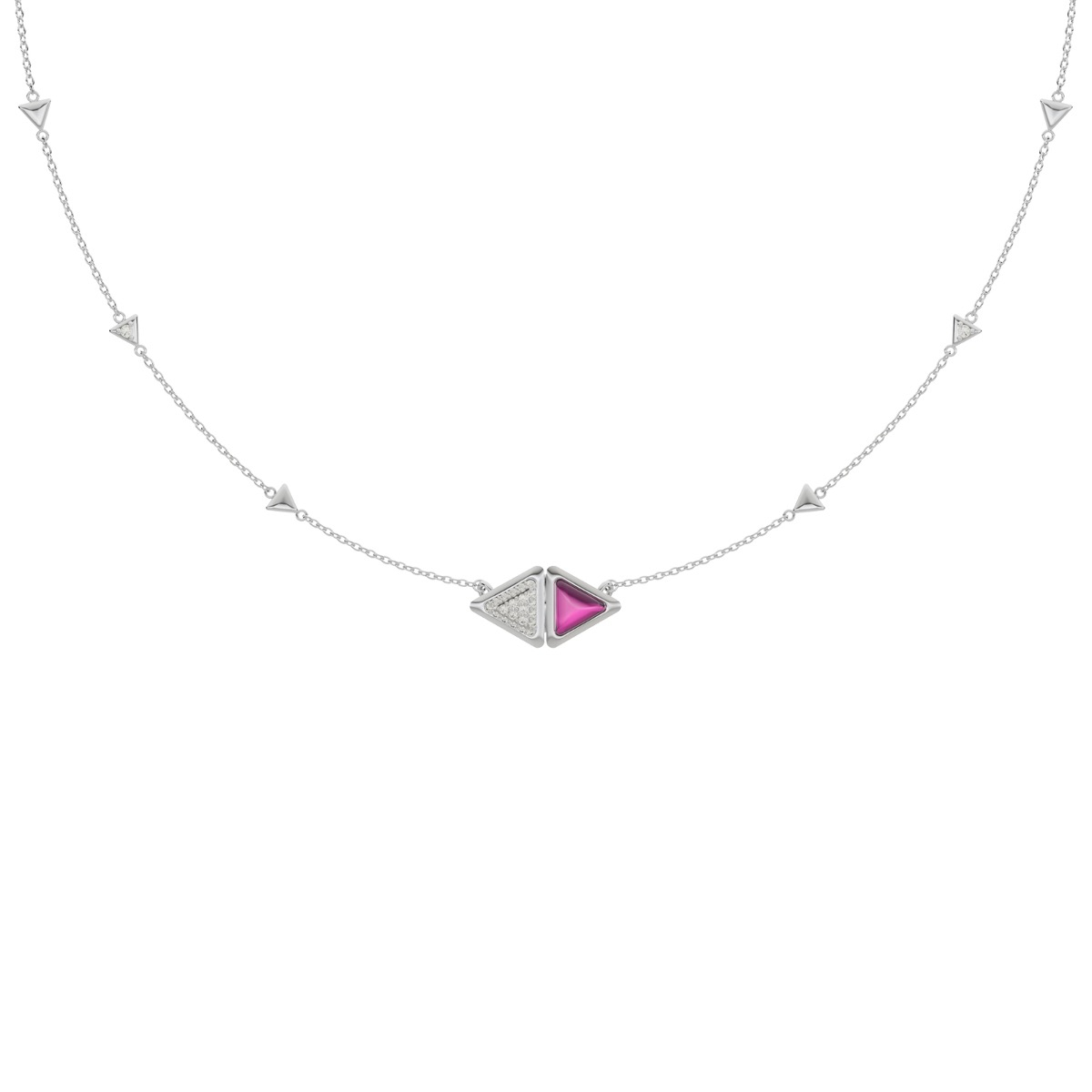 Necklace Mirror Exquisite White Gold Pink Garnet and Diamonds