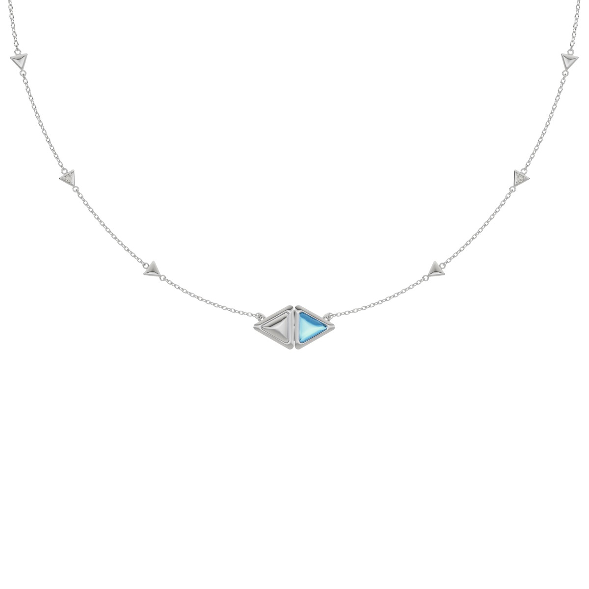 Necklace Mirror Gem White Gold Blue Topaz