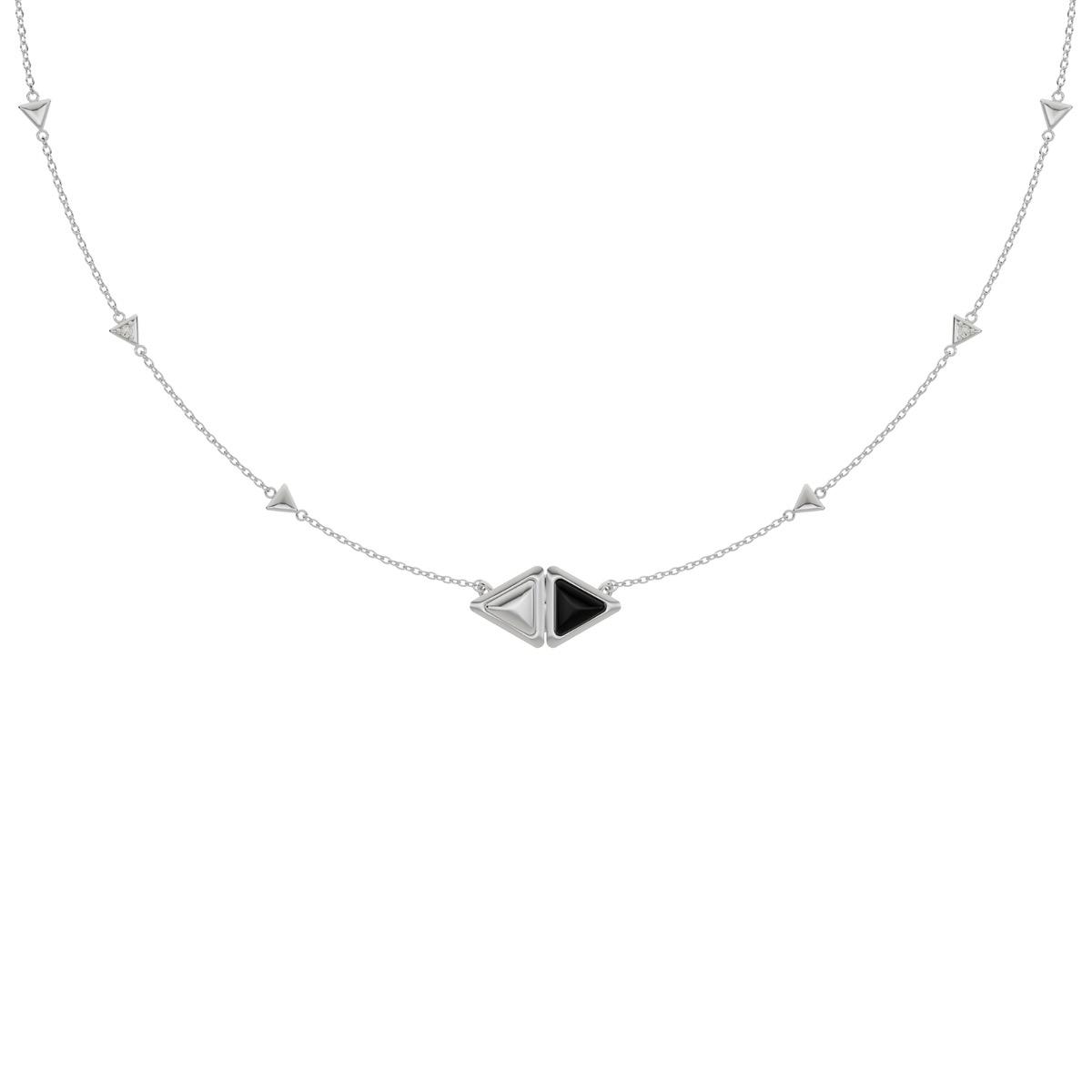 Necklace Mirror Gem White Gold Onix