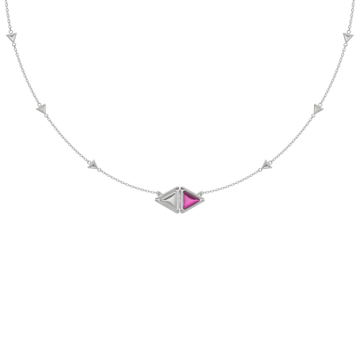 Necklace Mirror Gem White Gold Pink Garnet