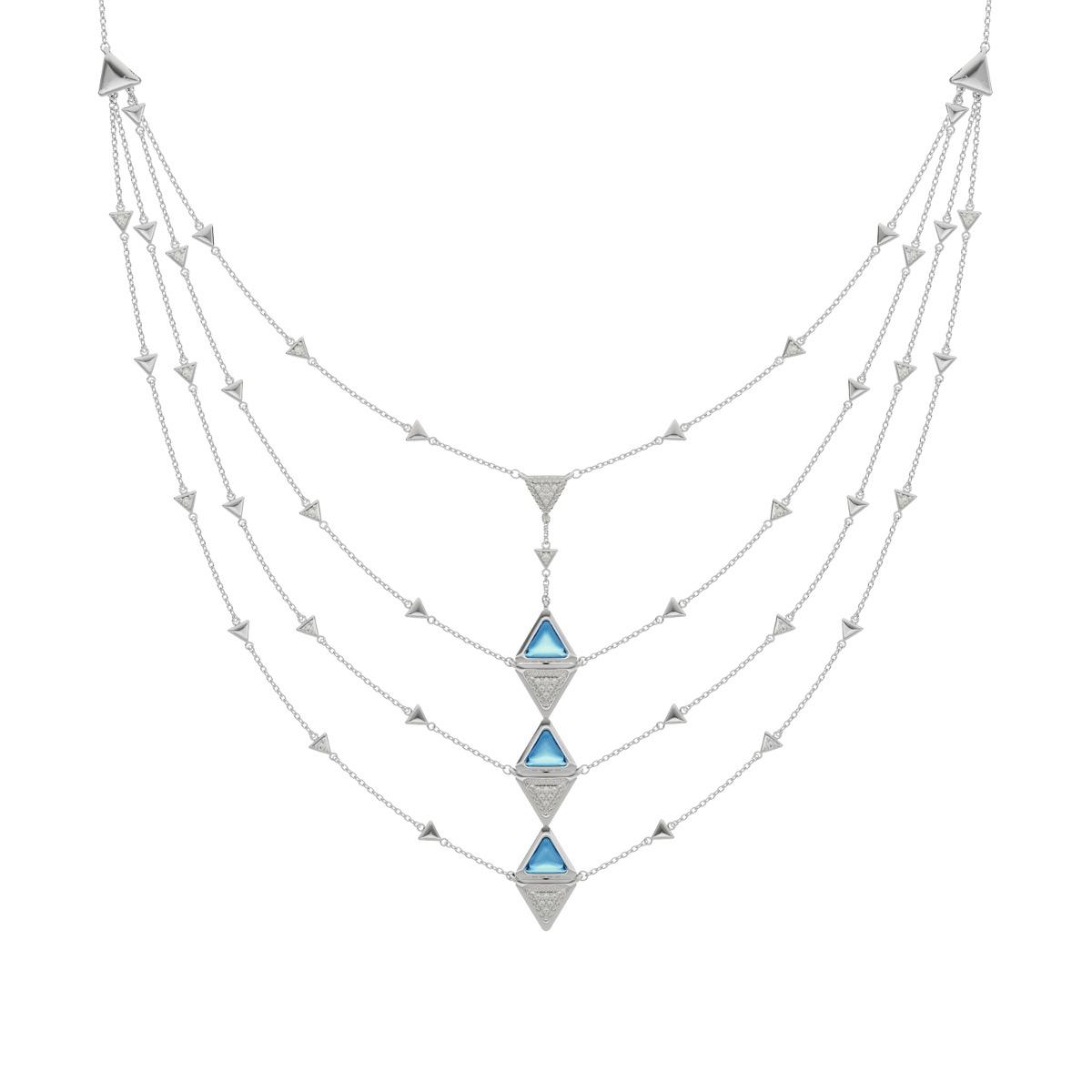 Necklace Multi Mirror Exquisite White Gold Blue Topaz and Diamonds