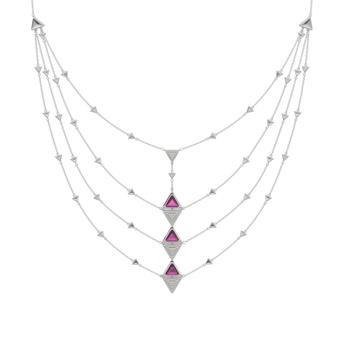Necklace Multi Mirror Exquisite White Gold Pink Garnet and Diamonds