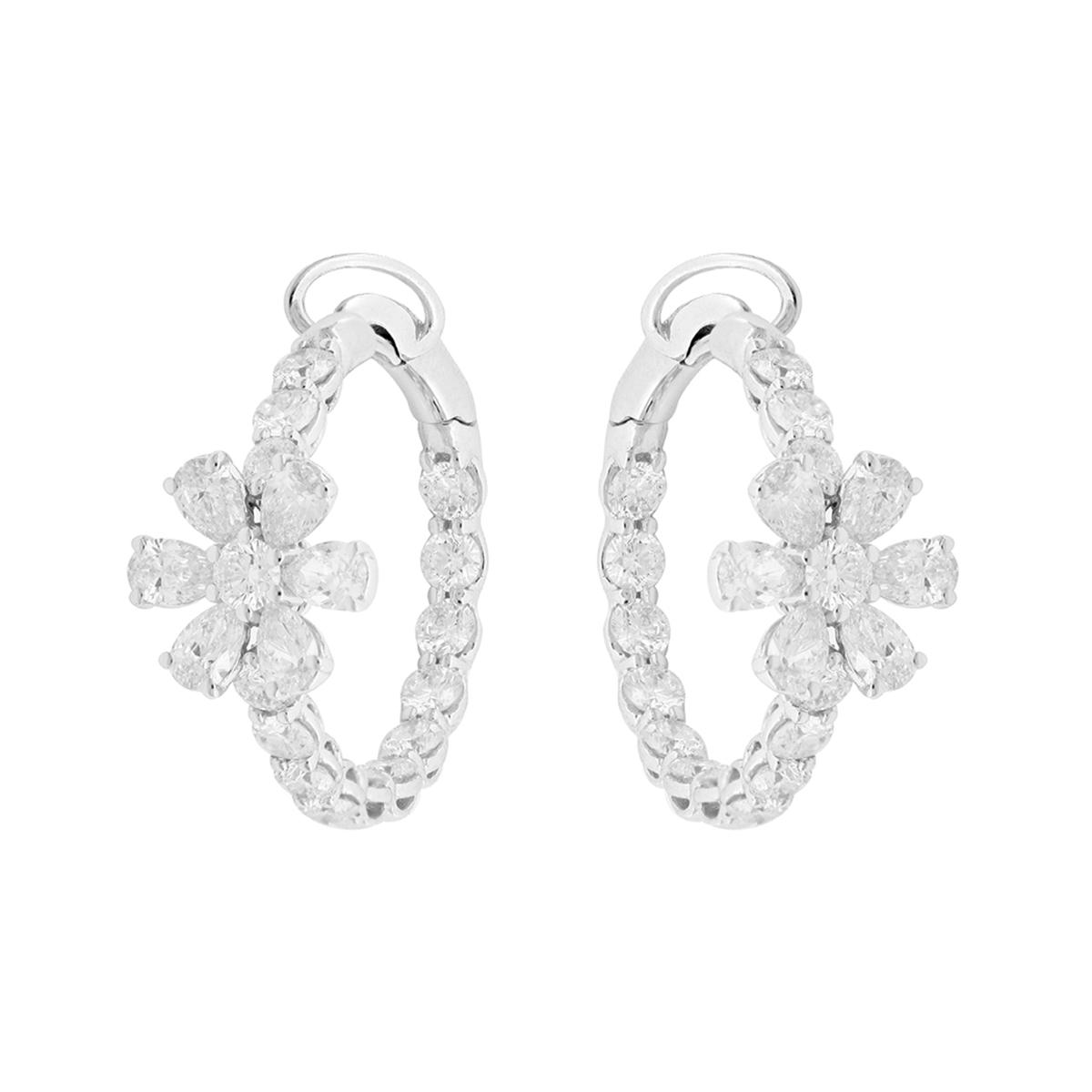 Hoop Diamond Flower Earrings