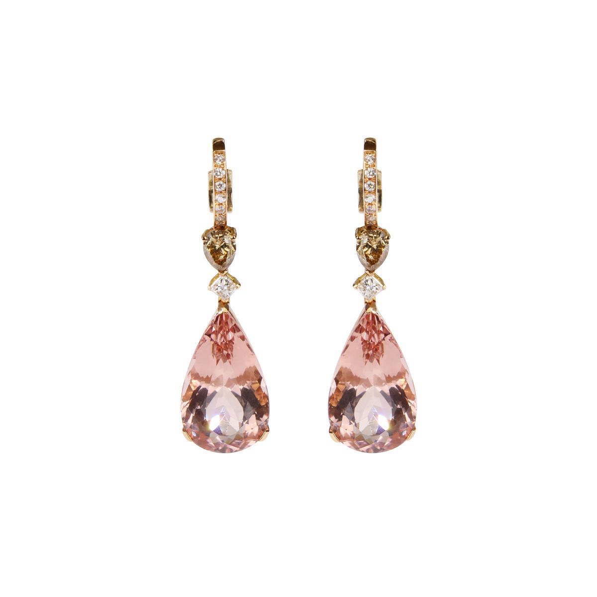 Pink Morganite Drop Earrings in Red Gold
