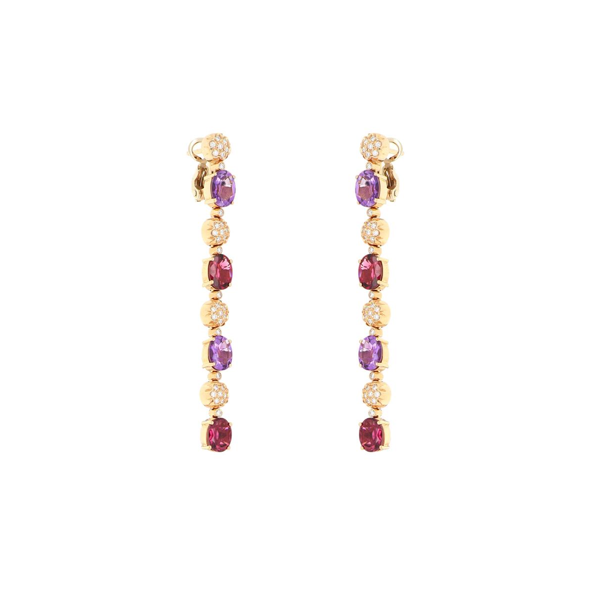 Teardrop Amethyst and Tourmaline Earrings