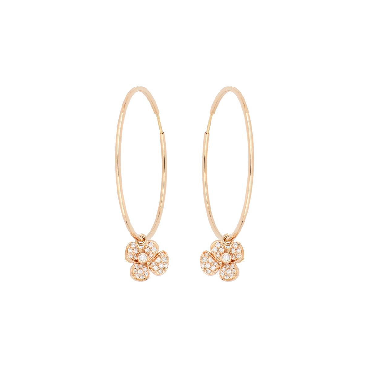 Red Gold Hoop Earrings with Diamond Flower Dangle
