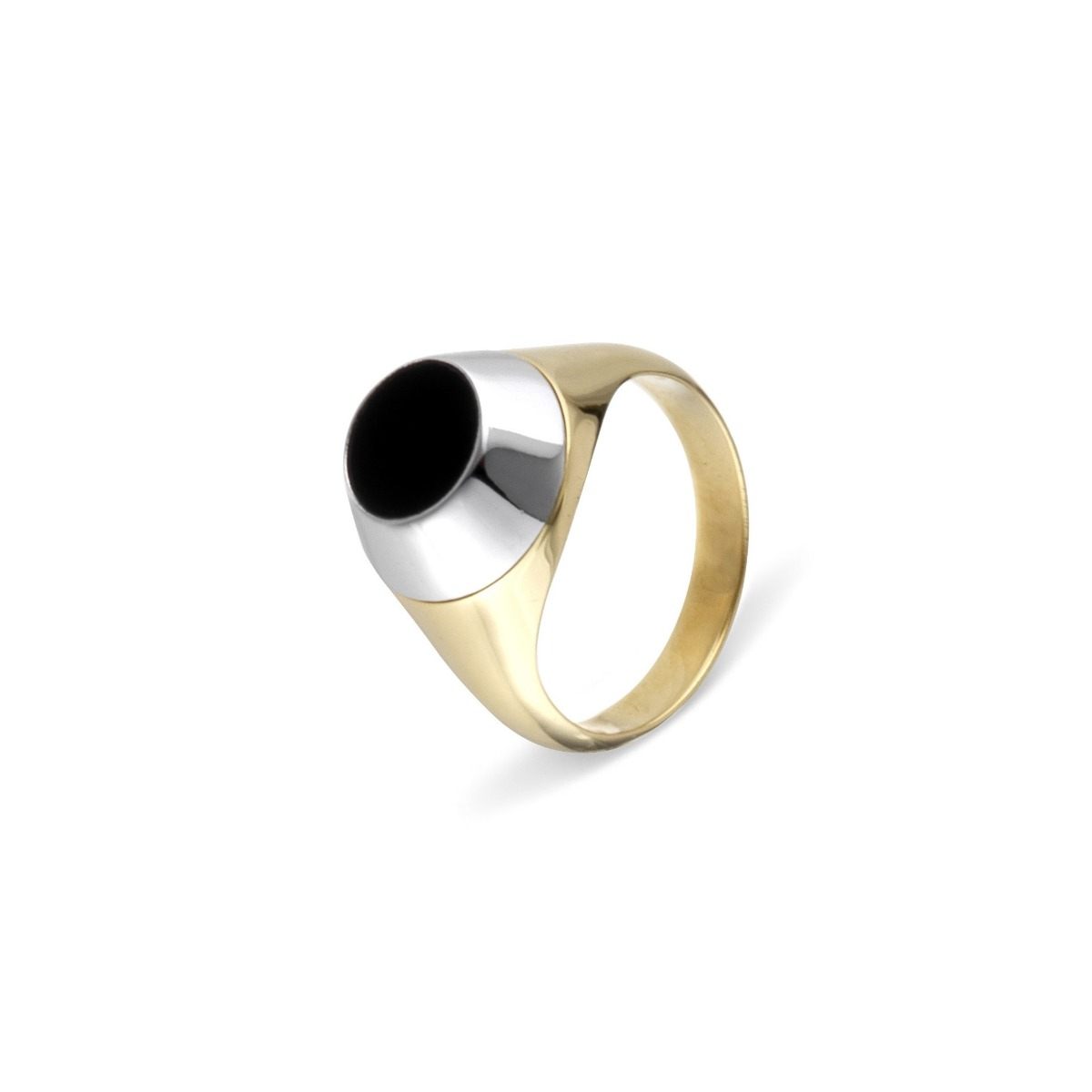 Onyx Disc Ring in 18Kt Yellow Gold