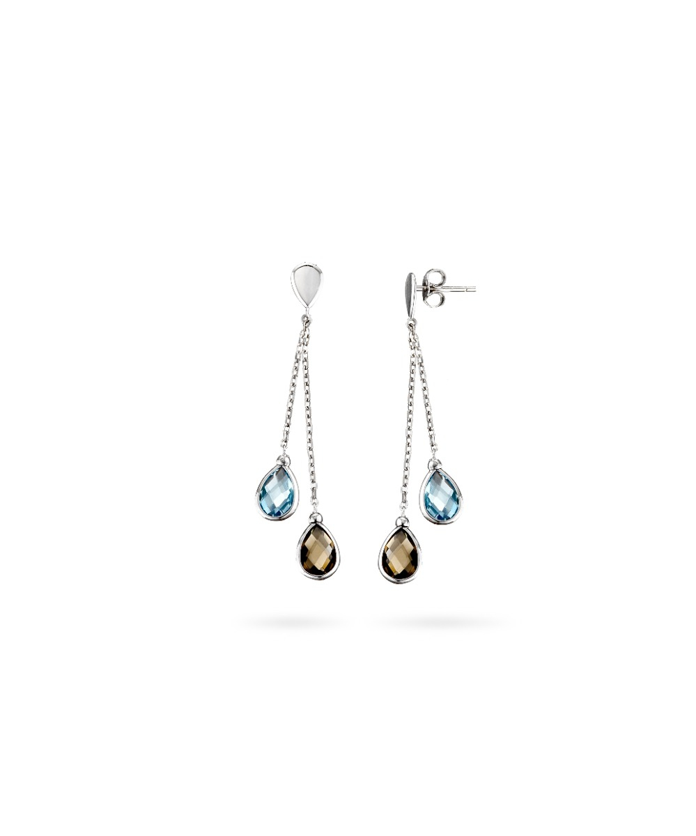 Aquamarine and Topaz Drop Earrings