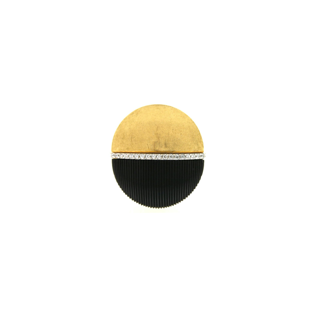 Black and Gold Stud Earrings with Diamonds
