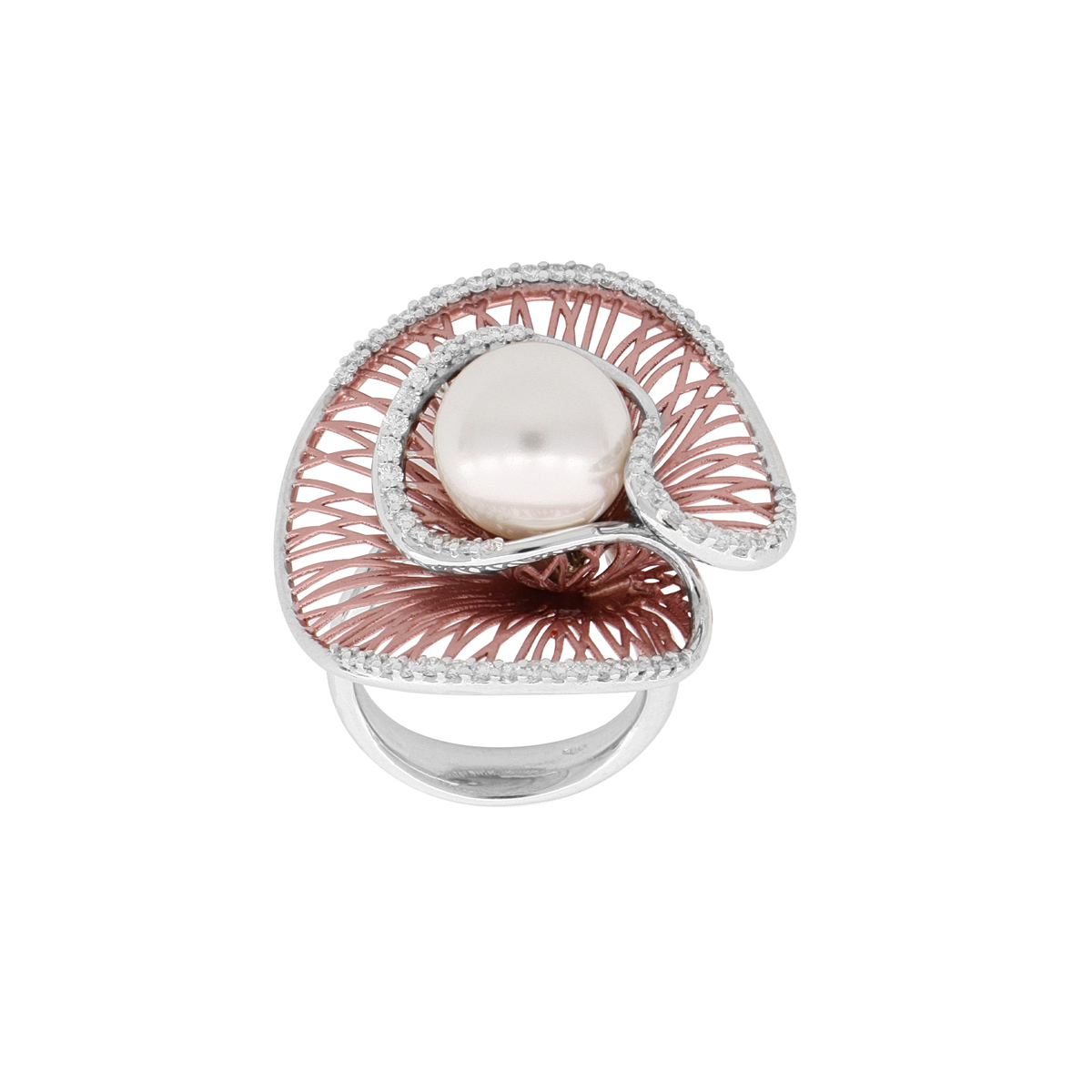 Modern 18 Kt White Gold Pearl Ring with Diamonds
