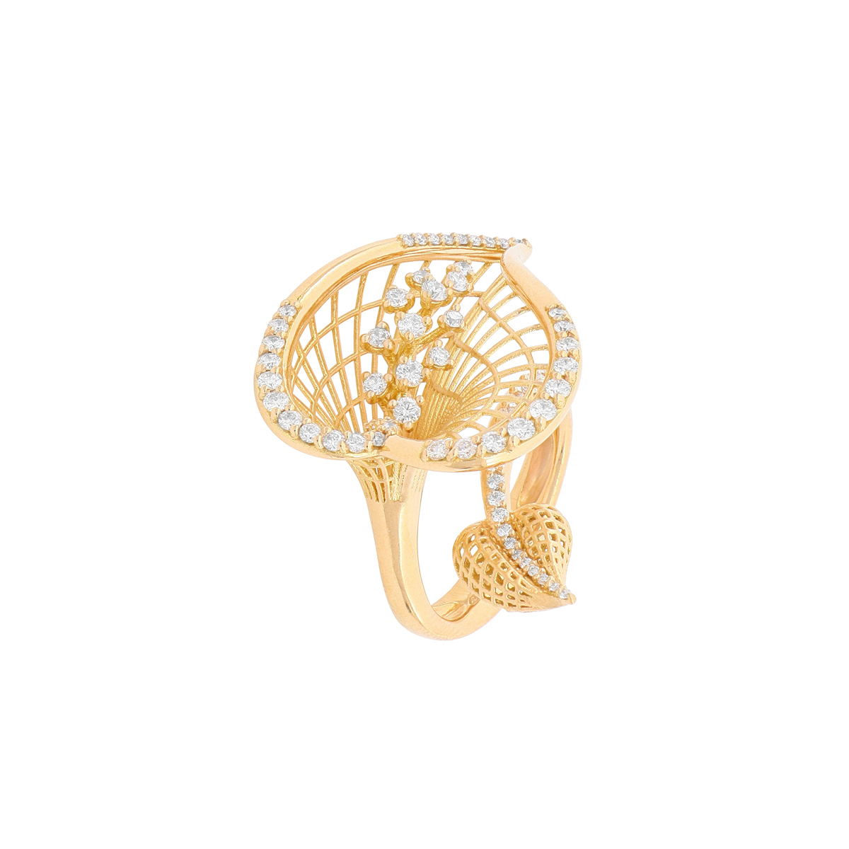 Rose Gold and Diamond Calla Flower Wraparound Ring
