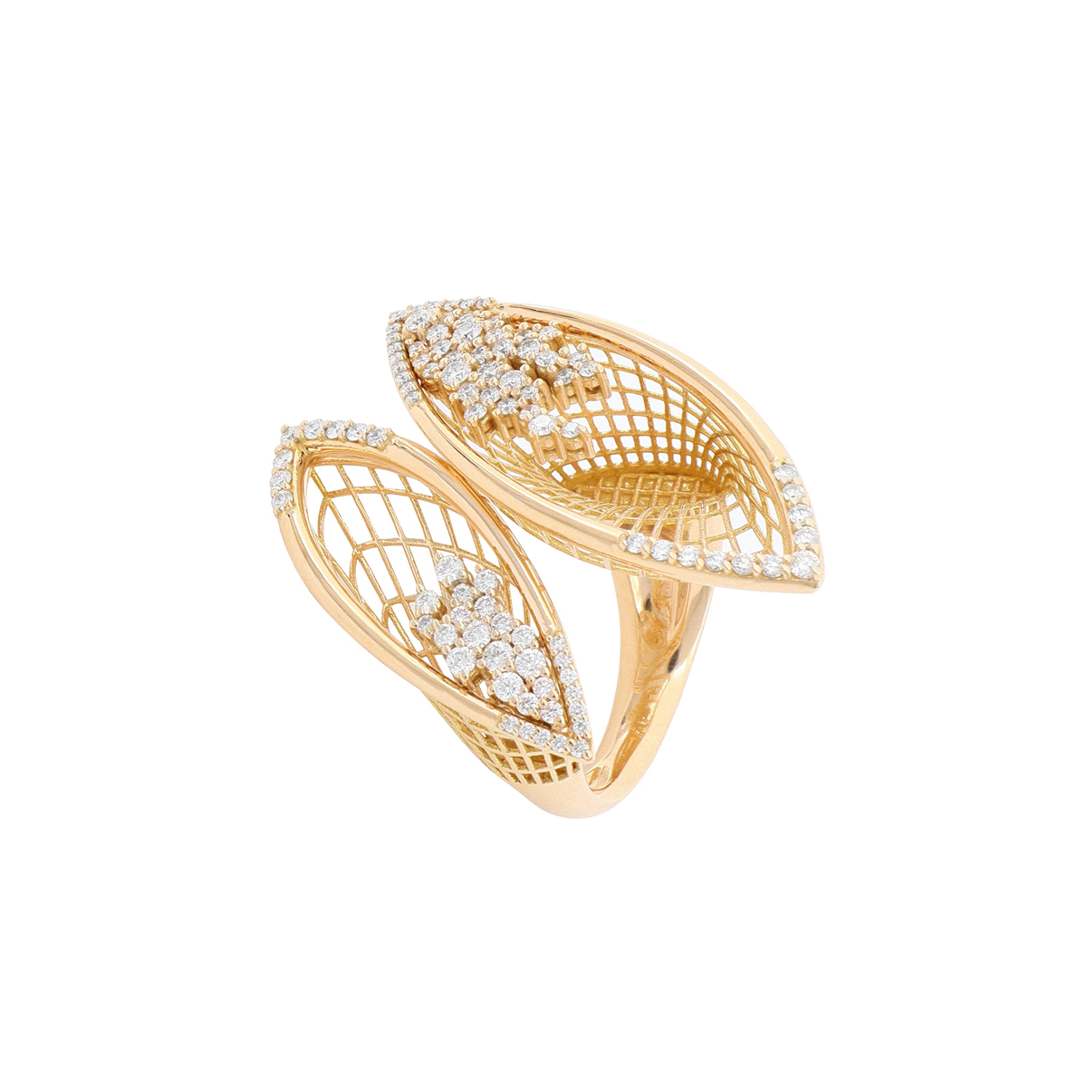 Rose Gold Calla Flower Ring with Diamonds