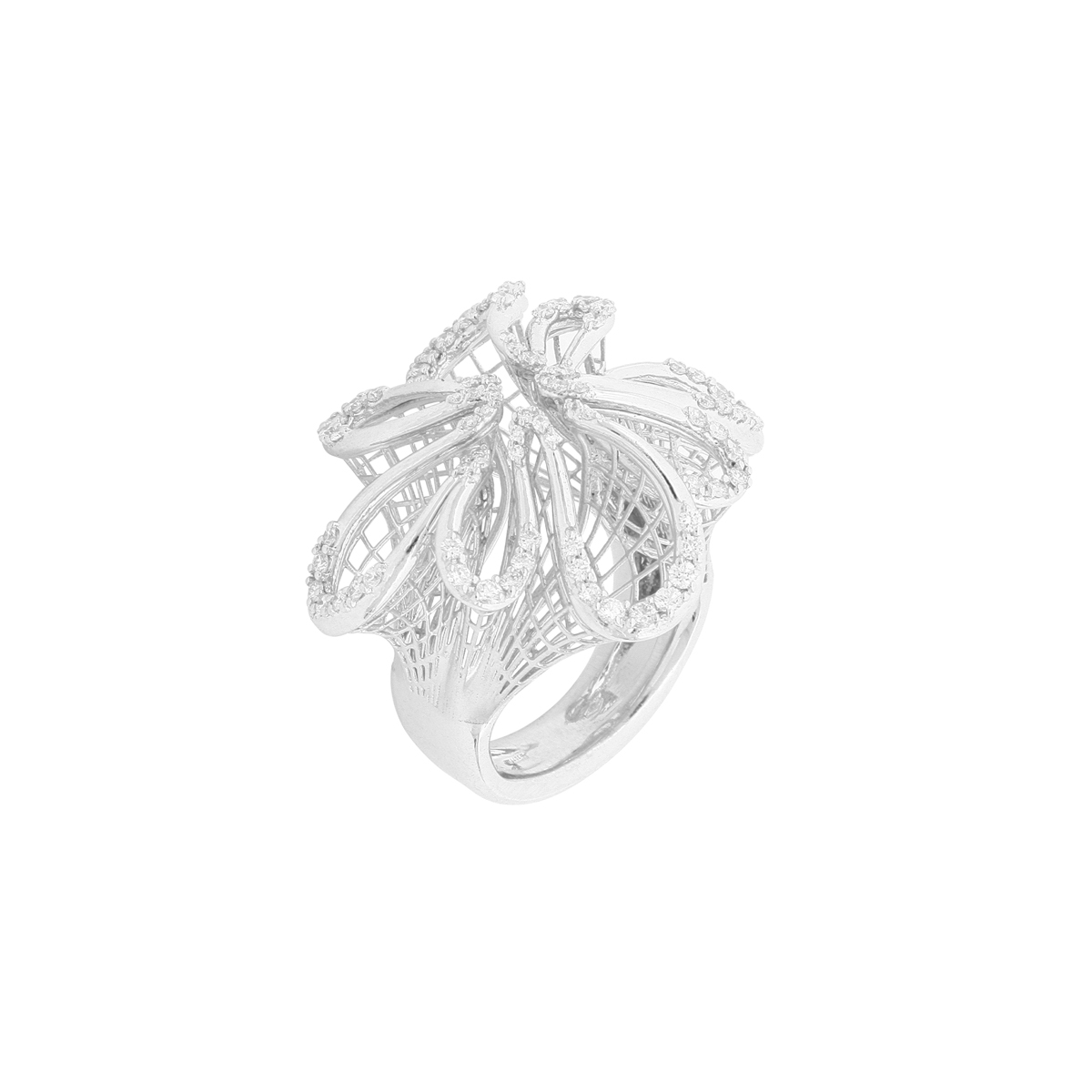 White Gold Calla Flower Bouquet Ring with Diamonds