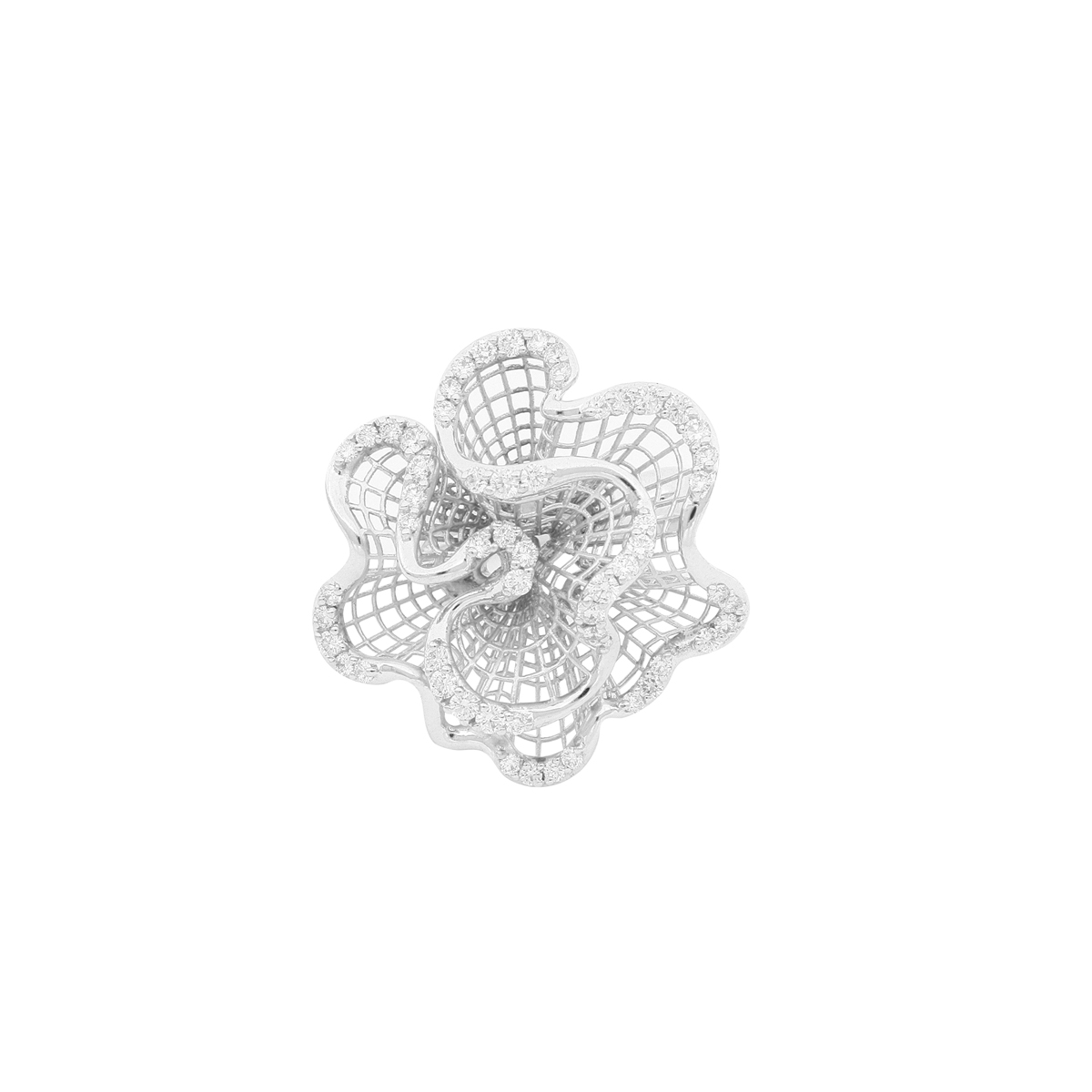 White Gold Wavy Ring with Diamonds
