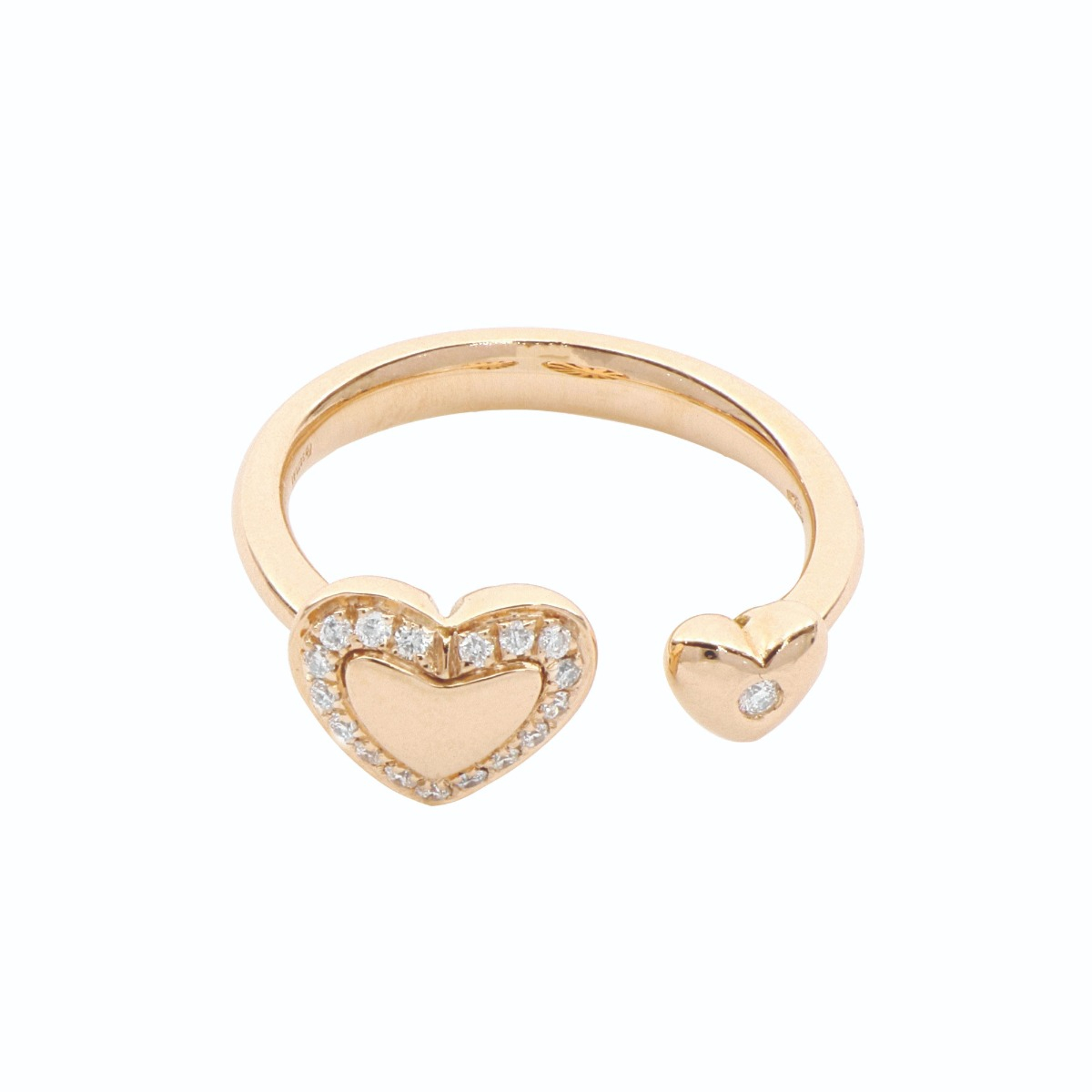18 Kt Rose Gold Heart Ring with White Diamonds