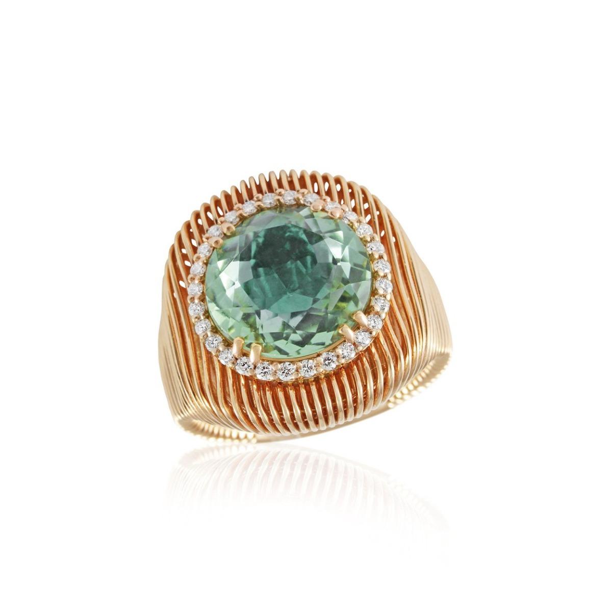 Batumi Rose Gold and Prasiolite Ring