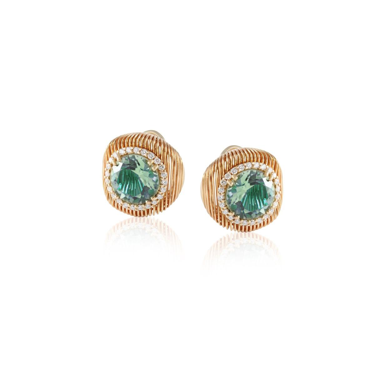 Batumi Rose Gold and Prasiolite Stud Earrings