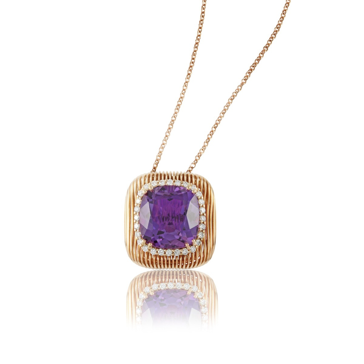 Batumi Rose Gold and Purple Amethyst Necklace
