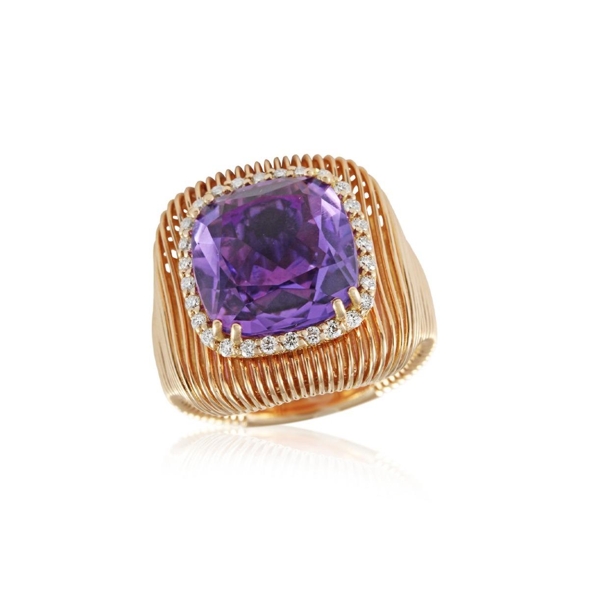 Batumi Rose Gold and Purple Amethyst Ring