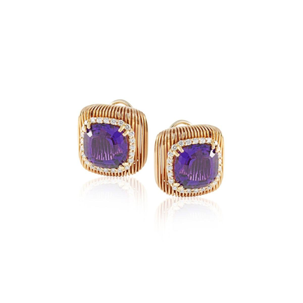 Batumi Rose Gold and Purple Amethyst Stud Earrings