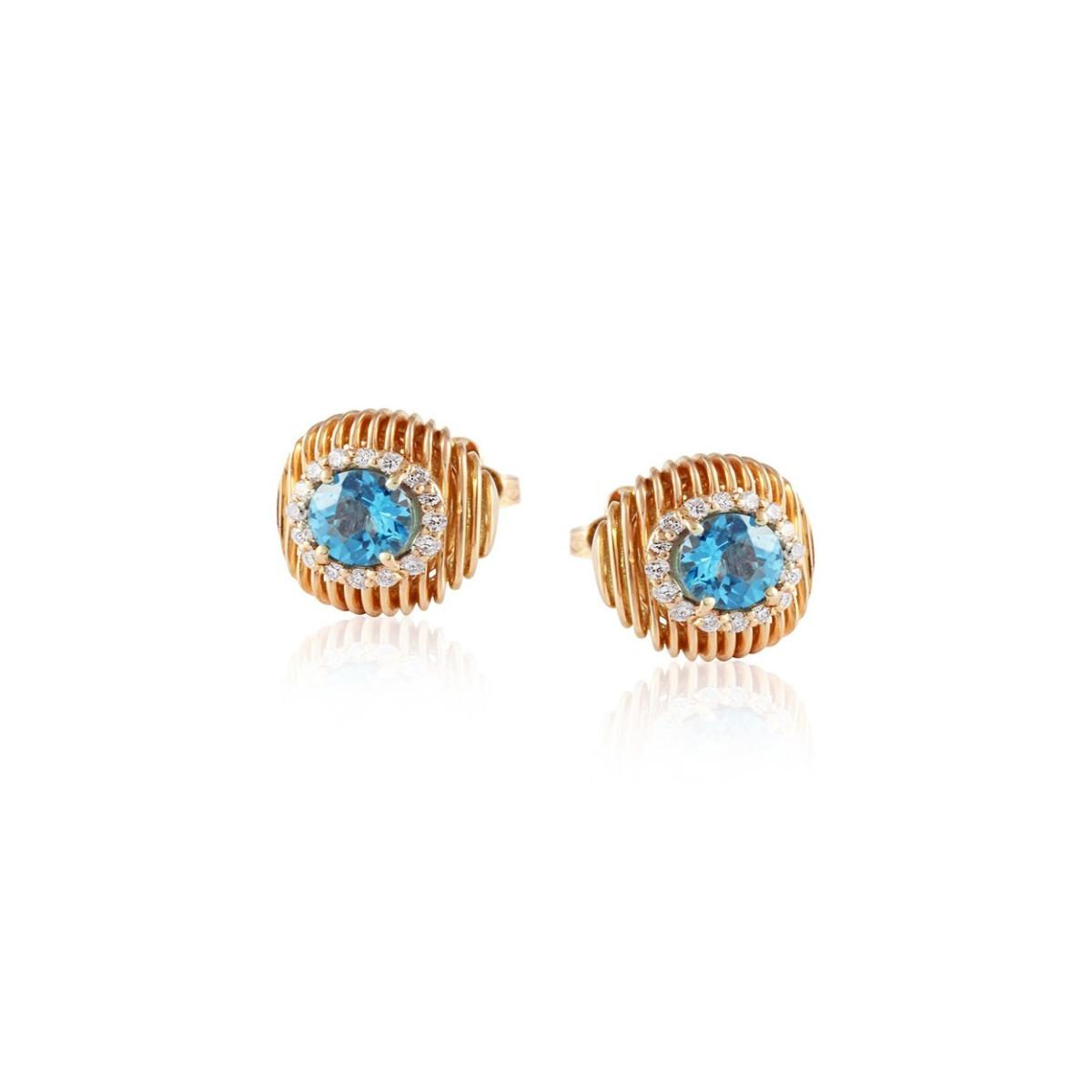 Batumi Rose Gold and Topaz Stud Earrings