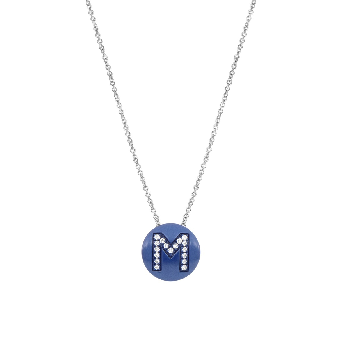 Blue Enamel Disc Necklace with Diamond Letter in 18 Kt White Gold