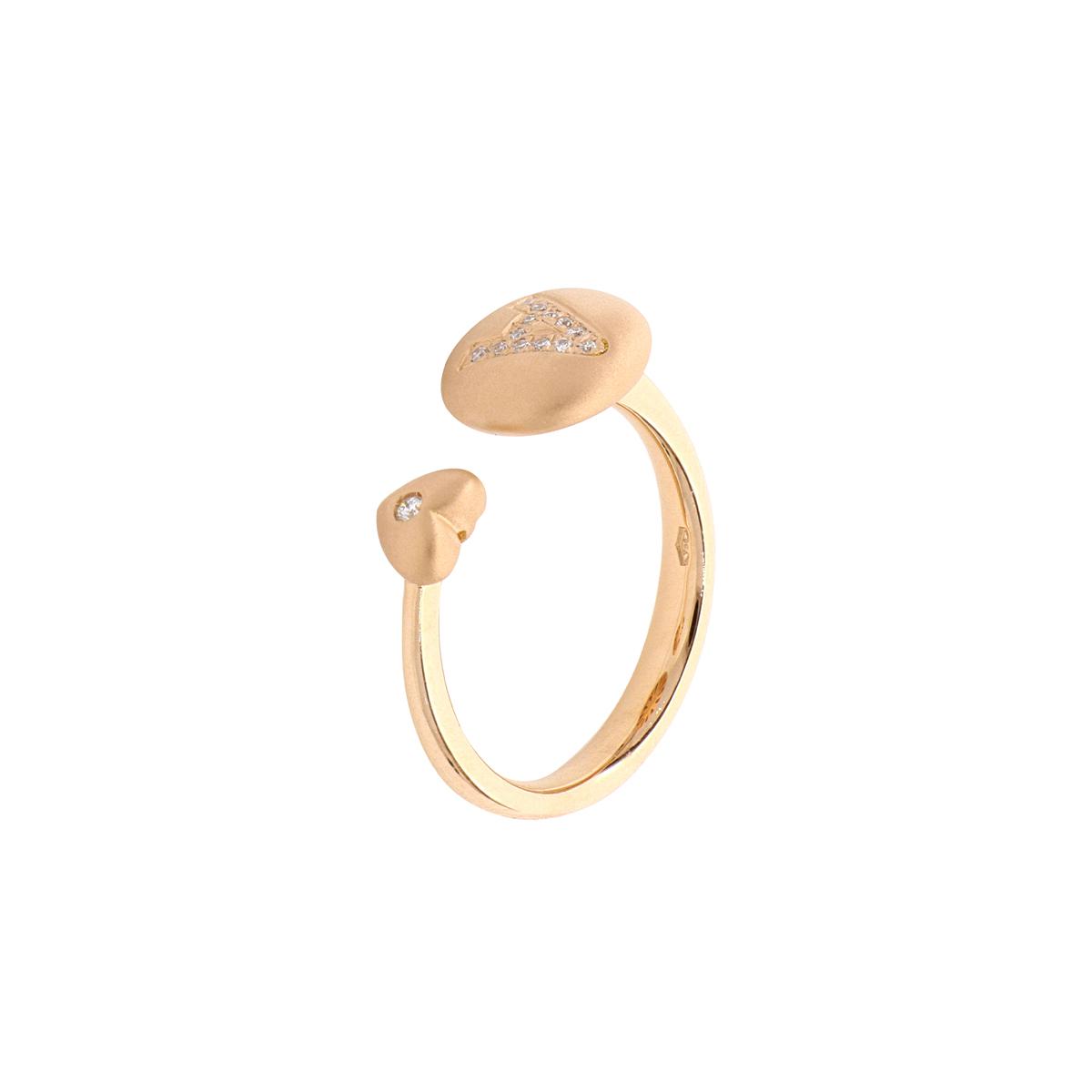 Diamond Letter & Heart Open-Top Ring in 18 Kt Rose Gold