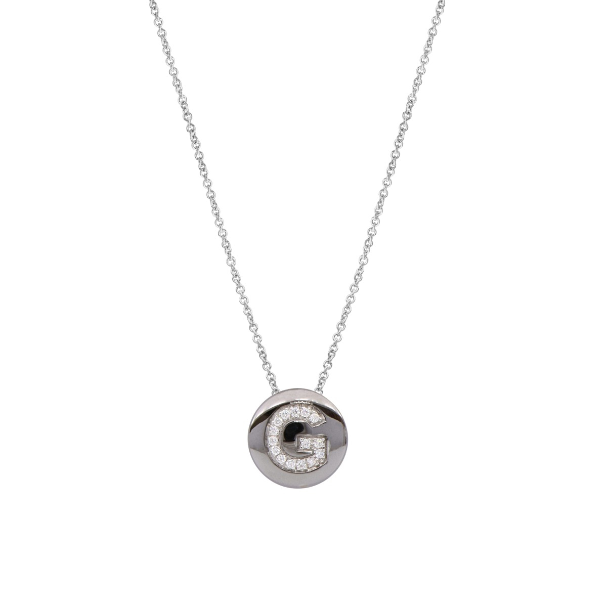 Glossy Round Disc Necklace with Diamond Letter in 18 Kt White Gold