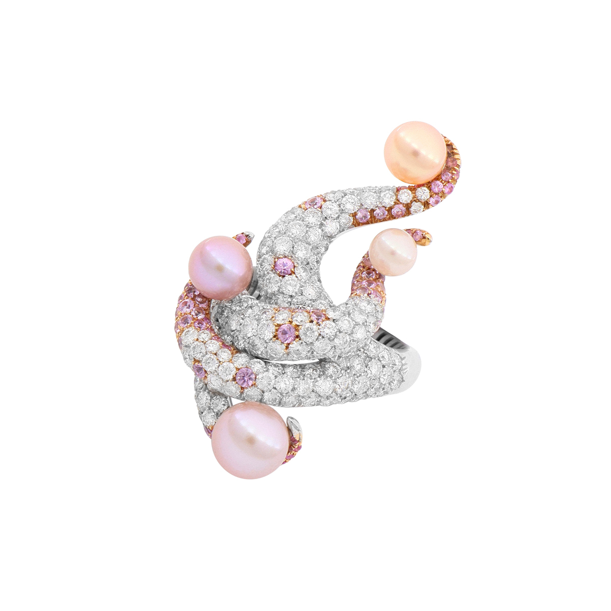 Pearl and Diamond Tentacle Ring