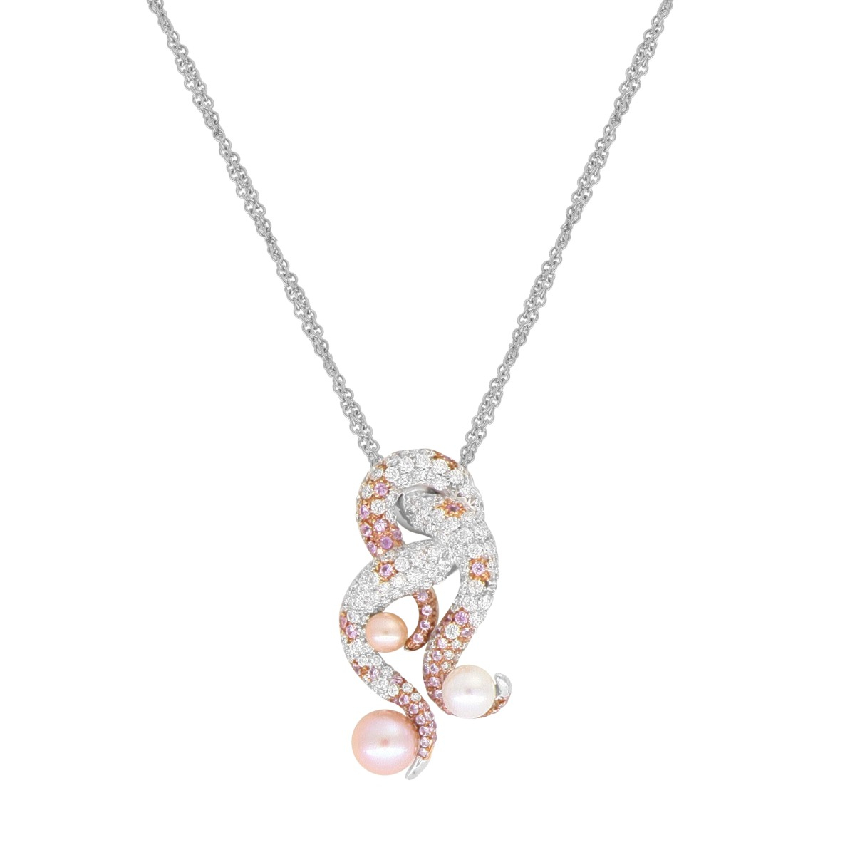 Pearl and Diamonds Tentacle Necklace