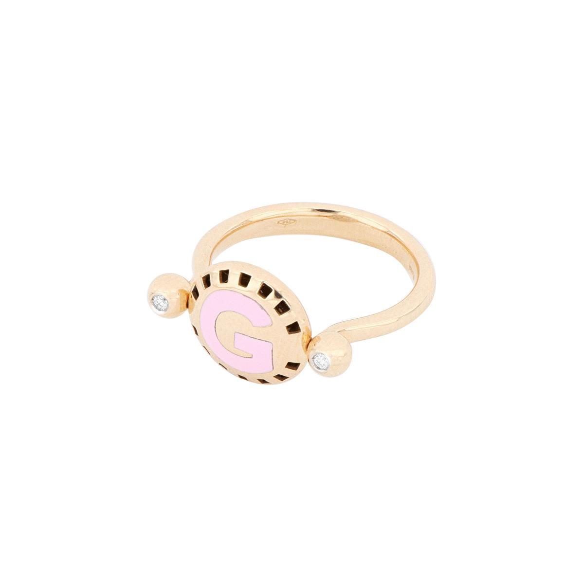 Reversible Enamel and Diamond Letter Ring in 18 Kt Rose Gold